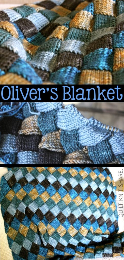 Oliver's knitted blanket is an entrelac style blanket. I love the depth and dimension of the blanket. The yarn is also very soft and baby friendly. #quiltknitshare #babyblanket #entrelac