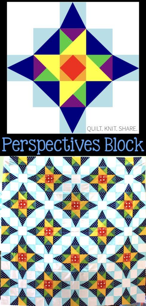 Create a beautiful illusion with this perspectives block. When the blocks are put together circles appear, but there are no curved seams. The block utilizes two different size triangles to create this illusion. The tutorial is a FREE download! #quiltblock #perspectivesblock
