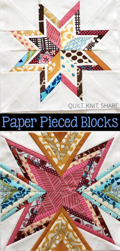 Paper pieced blocks in vivid colors.  Made for a quilting bee. I love the colors and triangular pieces. #quiltknitshare #paperpieced